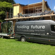 Our Folding Future van on site ready for a crane lift of another set of sliding doors